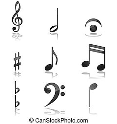 Glossy illustration showing different graphics commonly used in music notations