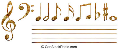 Musical notes (gold) - Set of all musical notes(isolated)...