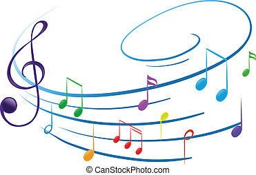Illustration of the musical notes on a white background