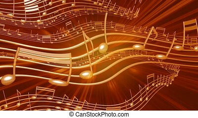 Musical notes in motion