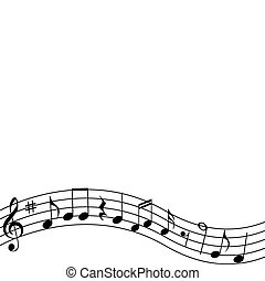 Musical Notes - Musical notes and treble clef sign on an...