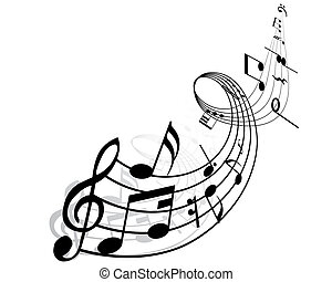 Musical notes background with lines. Vector illustration.