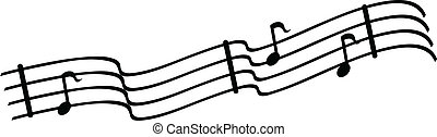 Musical Notes - Musical notes on bars of written music.