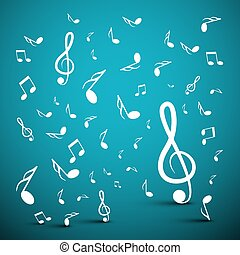 Musical Notes on Blue Background