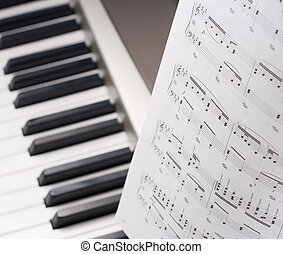 Musical notes on composer isolated studio shot