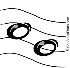 musical notes on staff -
