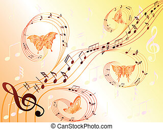 Musical notes on stave and flying butterflies - Various...