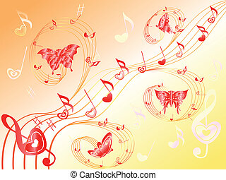 Musical notes on stave with hearts and butterflies