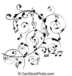 Musical notes on swirly stave