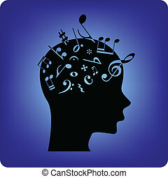 Musical notes spilling out from the brain