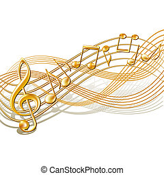 Gold musical notes staff background on white. Vector illustration.