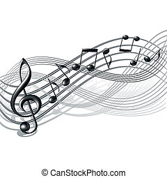 Musical notes staff background on white. Vector illustration...