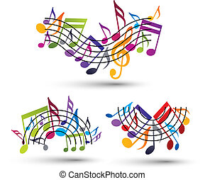 Musical notes staff set, abstract melodic music symbols, vectors.