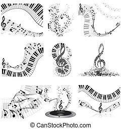 Musical notes staff set