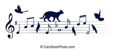 Musical notes with cats and birds.