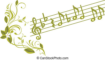 Musical notes with ornamental sprig