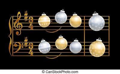 musical, noturna, notação, silencioso, baubles
