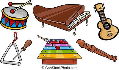 musical objects cartoon illustration set