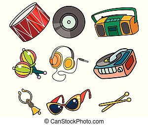 Musical objects on white background