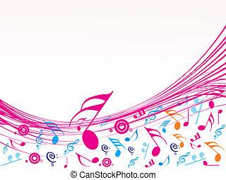 musical, onda, de, notas musicales