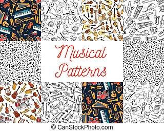 musical, padrão, fundos, instrumentos, notas