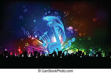Musical Party Background - illustration of abstract musical...