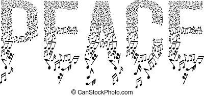 musical, paz, tipografía, notas