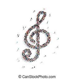 musical, pessoas, tecla, forma
