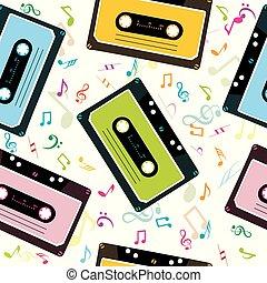 musical, plano de fondo, con, audio, cinta, cassettes, y, notas musicales