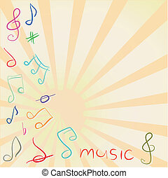 musical, plano de fondo, con, clave de sol, y, notas