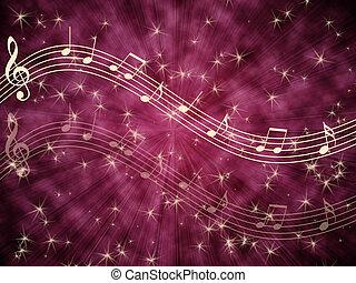 musical, plano de fondo, con, notas