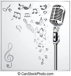musical, plano de fondo, con, retro, micro