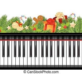 musical, plantilla, navidad