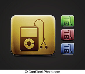 musical player icon set