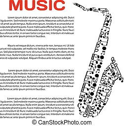 Musical poster with notes in a shape of saxophone