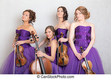 musical quartet iwith strings instruments