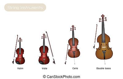 musical, quatro, instrumento, fundo, branca, cadeias