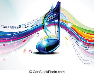 musical, résumé, fond, vague