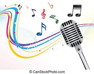 musical, résumé, mic, fond
