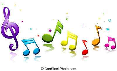 Rainbow Colored Musical Notes Against White Background