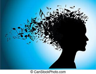 musical, retrato mulher, silueta, com, notas