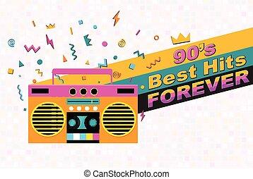 musical, retro, poster., 90s, melhor