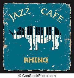 musical, rhino., vecteur, conceptuel