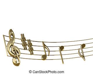 Golden musical score on white background - 3d render