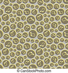 Musical seamless pattern with music notes. Abstract...