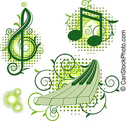 Musical signs with floral elements