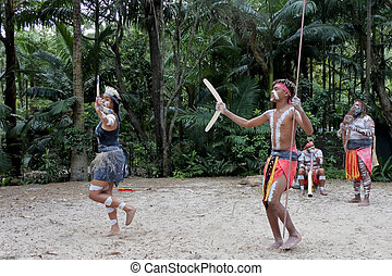 musical, son, gens, rythme, didgeridoo, danse, indigène, australiens, instrument