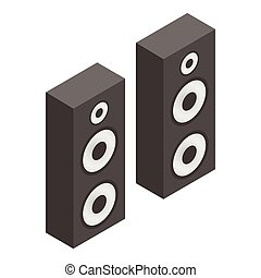 Musical speakers isometric 3d icon