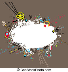 Musical Speech Bubble - illustration of musical doodle...