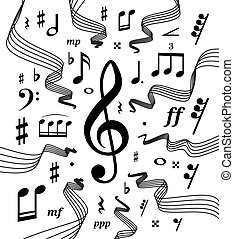 Musical staves illustration with music notes and symbols -...